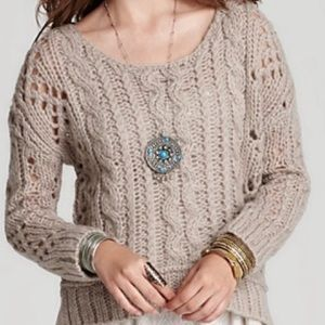 Free People // Oatmeal Cable Knit Sweater